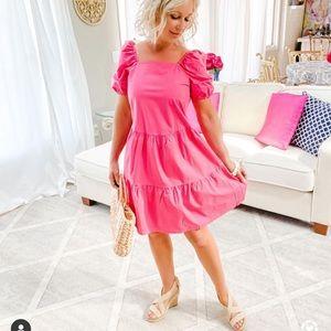 Loft Pink Puff Sleeve Tiered Dress